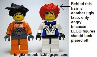 Behind that red hair and bizarre expression is another expression, only angry because LEGO figures have angst.
