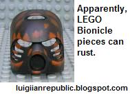 Apparently, LEGO Bionicle masks can rust as well as fall off.